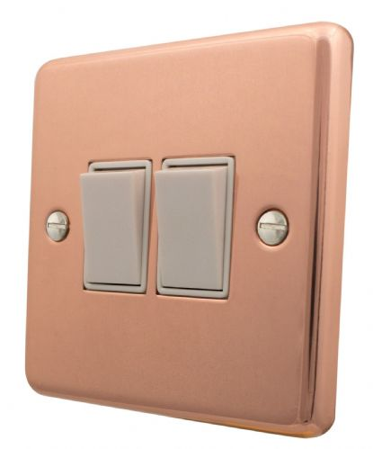 G&H CBC2W Standard Plate Bright Copper 2 Gang 1 or 2 Way Rocker Light Switch